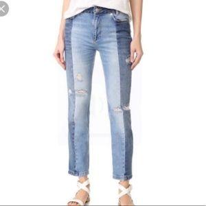free people 2 tone boyfriend jeans